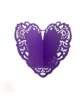 Rond de serviette mariage,baptême Coeur Violet 12pcs