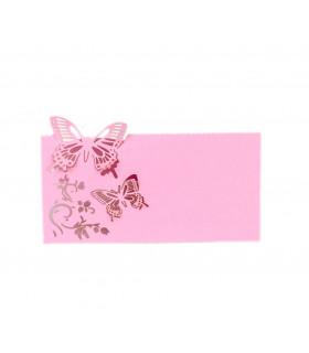 Marque Place table de fête modèle papillon en relief Rose bonbon 20pcs