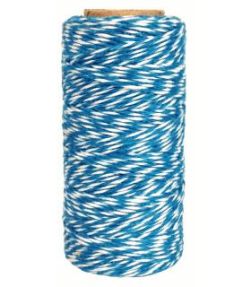 Bobine filcelle coton baker twine 100M Bicolor Bleu Azur/Blanc