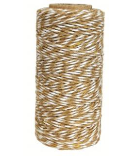 Bobine filcelle coton baker twine 100M Bicolor Café /Blanc