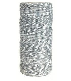 Bobine ficelle coton baker twine 100M Bicolor Gris /Blanc