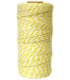 Bobine ficelle coton baker twine 100M Bicolor Jaune/Blanc
