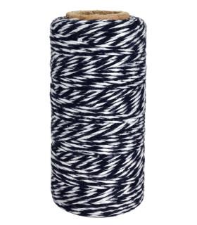 Bobine ficelle coton baker twine 100M Bicolor Noir/Blanc