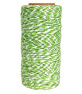 Bobine ficelle coton baker twine 100M Vert Pomme/Blanc