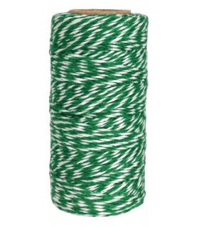 Bobine ficelle coton baker twine 100M Vert /Blanc