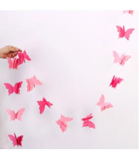 Guirlande papillon en papier 3D bicolor 2,8M Fuschia/Rose