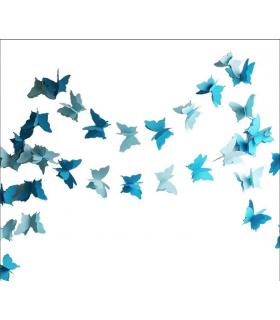 Guirlande papillon en papier 3D bicolor 2,8M Bleu Azur/ Bleu ciel