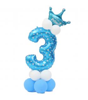 Kit Ballon Anniversaire Chiffre 3 garcon Bleu