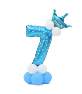 Kit Ballon Anniversaire Chiffre 7 garcon Bleu