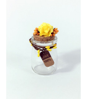 Contenant dragées décoration florale Jaune