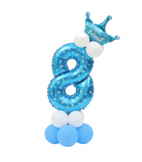 Kit Ballon Anniversaire Chiffre 8 garcon Bleu