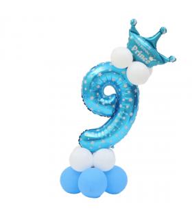 Kit Ballon Anniversaire Chiffre 9 garcon Bleu