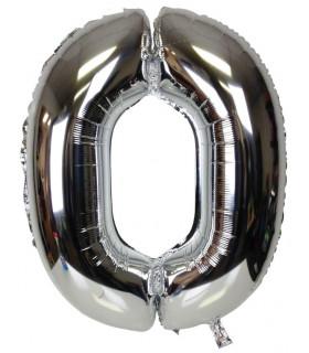 Blallon aluminium chiffre 0 Argenté 40cm
