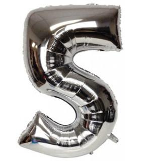 Blallon géant aluminium chiffre 5 Argenté