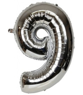 Blallon géant aluminium chiffre 9 Argenté