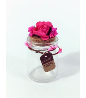 Contenant dragées décoration florale Rose