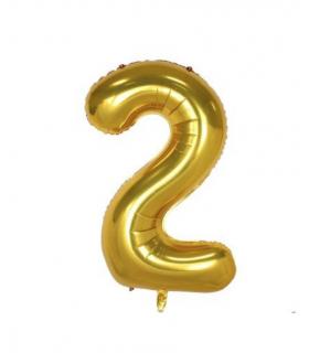 Ballon géant aluminium chiffre 2 Doré