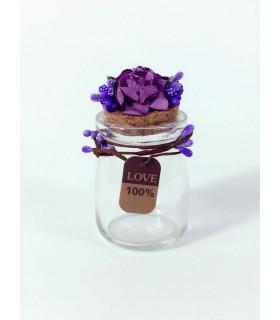Contenant dragées décoration florale Violet