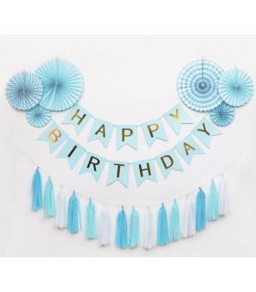 Guirlande Fanion Happy Birthday Bleu/Or 3M