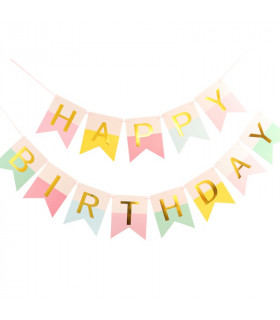 Guirlande Fanion Happy Birthday Rose/Bleu/Jaune 3M