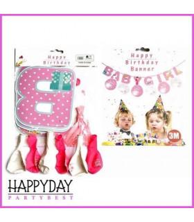 Banderole Baby Girl Rose 3M