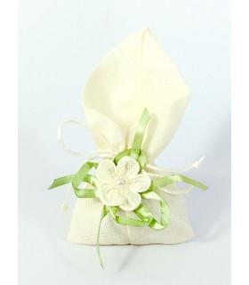 Sachet dragées décoration florale Ivoire Vert 10 pcs
