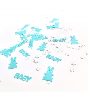 Confettis Baby Shower Lapin Bleu