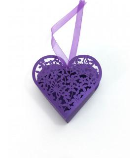 Contenant dragées coeur baptême, mariage Violet 10 pcs