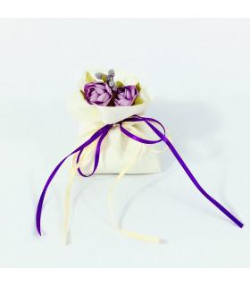 Sachet dragées décoration florale Ivoire Violet 10 pcs