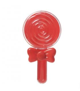12Petit Contenants dragées en forme sucette avec nœud rouge