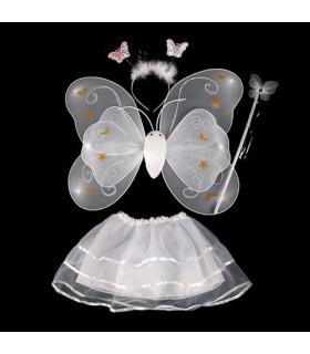 Déguisement enfant fée papillon Kit complet Blanc