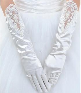 Gants pour la mariée brodure,perle Blanc Satiné