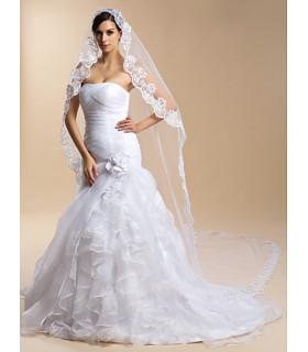 Voile pour la mariée brodure dentelle Blanc