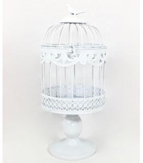 Petite Cage oiseau décoration table,salle en métal Blanc