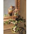 Petite Cage oiseau Bougeoir, décoration effet bois Patiné