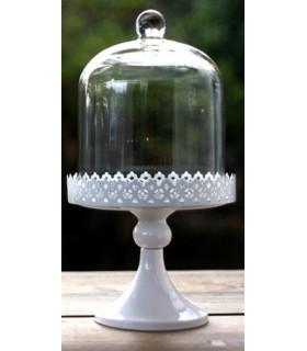 Support à gateau cloche en verre, dentelle H33cm Blanc