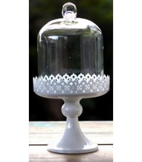 Support à gateau cloche en verre, dentelle H29cm Blanc