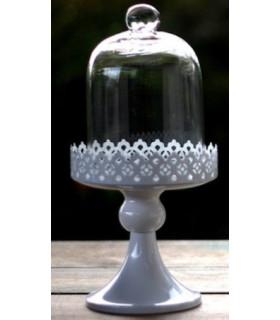 Support à gateau cloche en verre, dentelle H26cm Blanc