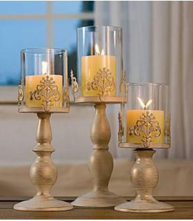 Moyen Bougeoir avec protection verre décoration effet doré Patiné