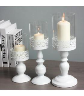 Grand Bougeoir avec protection verre décoration élégant Blanc