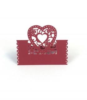 Marque Place table de fête modèle coeur Rouge 20 pcs