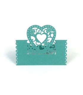 Marque Place table de fête modèle coeur Turquoise 20 pcs