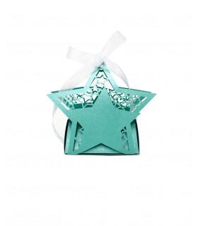 Contenant dragées étoile baptême, mariage Turquoise 10 pcs