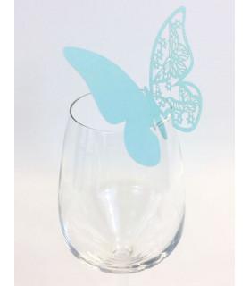 Marque Place table de fête sur verre papillon Bleu Ciel 20 pcs