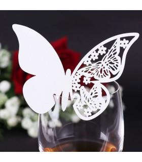 Marque Place table de fête sur verre papillon Ivoire 20 pcs