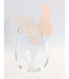 Marque Place table de fête sur verre papillon Peche 20 pcs