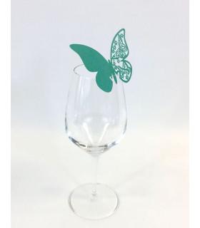 Marque Place table de fête sur verre papillon Turquoise 20 pcs