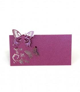 Marque Place table de fête modèle papillon en relief Fuchsia Nacré 20 pcs