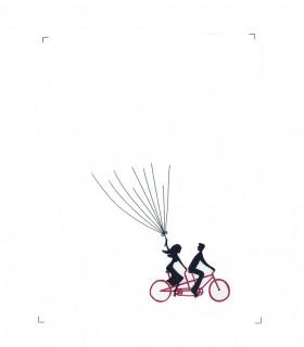 Arbre empreinte sur toile animation mariage motif velo rouge