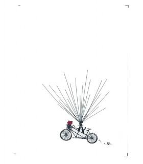 Arbre empreinte sur toile animation mariage motif velo